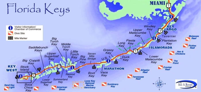 Florida Keys Map With Mile Markers.Henry Flagler The Florida Keys Mile Markers